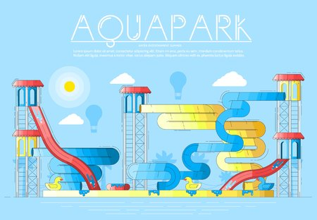 Different colored bright waterslides and garrets in aquapark. Layout modern vector background illustration design concept.