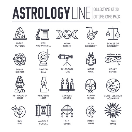 Astrology house thin line icons design illustration set. Flat outline horoscope items concept. Vector camera, lenses and other staff linear background Vettoriali