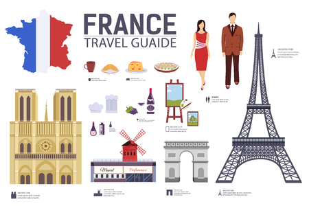 Country France travel vacation guide of goods, places and features. Set of architecture, fashion, people, items, nature background concept. Infographic template design for web and mobile on flat style.