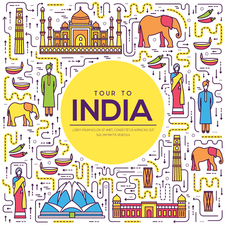 Country India travel vacation guide of goods, place and feature. Set of architecture, fashion, people, item, background concept. Infographic traditional ethnic flat, outline, thin line icon