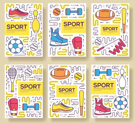 Quality sport vector brochure cards thin line set Vettoriali