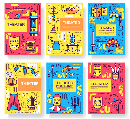 Premium quality theater vector brochure cards thin line set.