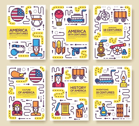 Country outline USA travel. Template set of cards flyear, magazines, posters, book cover, banners. Infographic  traditional ethnic flat, thin line icon, people, item,  background concept
