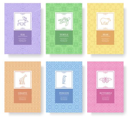 Ensemble de concept de modèle de vacances animaux ligne mince. Art traditionnel, magazine, livre, affiche, résumé, bannières, élément. Contour de vecteur carte de voeux ou arrière-plan de conception d'invitation. Banque d'images - 98210885