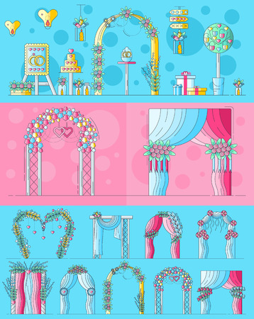 Set of chancels wedding ceremony with different flowers and decorations. Layout modern vector background illustration design concept