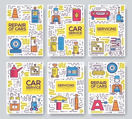 Auto service vector brochure cards thin line set. Mechanic repair a car template of flyer, magazines, posters, book cover, banners. Layout garage elements outline illustrations modern pages.