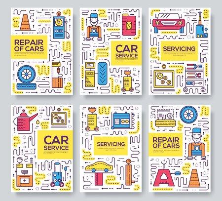 Auto usługi wektor broszura karty cienka linia zestaw. Mechanik naprawia samochód szablon ulotki, czasopism, plakatów, okładki książki, banerów. Układ elementów garażu zarys ilustracji nowoczesnych stron.