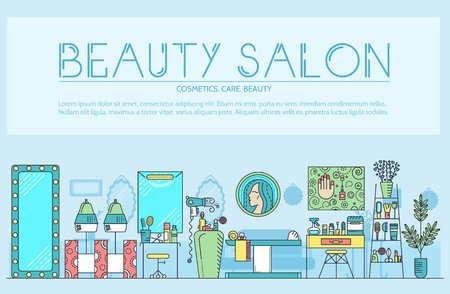 Beauty salon with assortment of cosmetology and beauty design.  Flat equipment in beauty salon vector illustration concept. Stock Vector - 98214063
