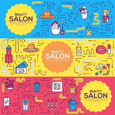 Thin lineBeauty salon with assortment vector brochure cards set.  Cosmetology template of flyear, magazines, poster, book cover, banners. Outline equipmen invitation concept. Stock Vector - 98212941
