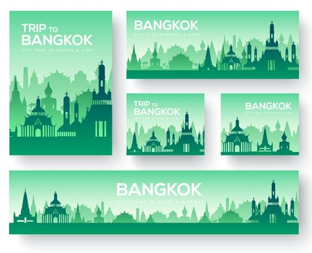 Set of Bangkok landscape country ornament travel tour concept. Culture traditional, magazine, book, poster, abstract, element. Vector decorative ethnic greeting card or invitation background.