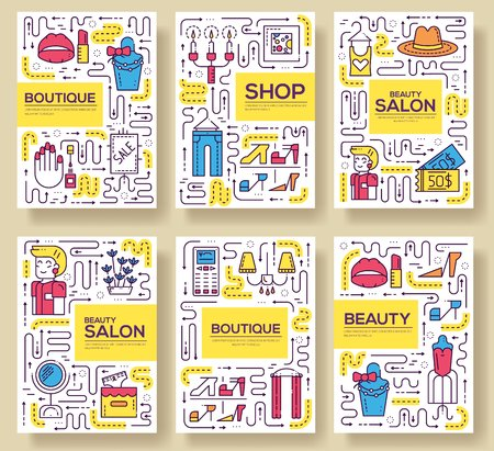 Thin line Beauty salon with assortment vector brochure cards set.  Cosmetology template of flyear, magazines, poster, book cover, banners. Outline equipmen invitation concept
