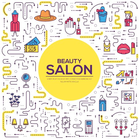Thin lineBeauty salon with assortment vector brochure cards set.  Cosmetology template of flyear, magazines, poster, book cover, banners. Outline equipmen invitation concept.