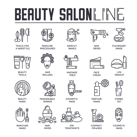 Beauty salon with assortment of cosmetology and beauty design.  Flat equipment in beauty salon vector illustration concept.