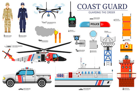 coast guard day flat icons set. Guarding the order background. Devices infographic concept. Layout illustrations template.