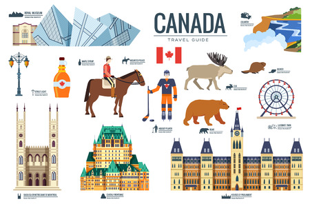 Country Canada travel vacation guide of goods, places and features. Set of architecture, fashion, people, items, nature background concept. Infographic template design for web and mobile on flat style 向量圖像