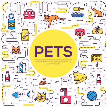 Vector thin line breed cats icons set. Cute outline animal illustrations pet design. Collection different kitten layout flat cover