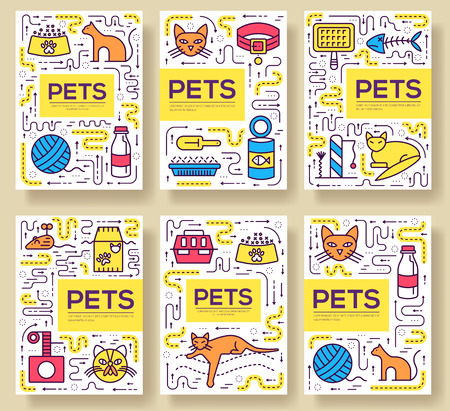 Animal vector brochure cards thin line set. Cute home pets template of flyear, magazines, posters, book cover, banners. Layout domestic wildlife  outline illustrations modern pages Illustration