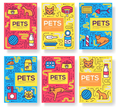 Breed cats vector brochure cards thin line set. Cute animal template of flyear, magazines, posters, book cover, banners. Layout different kitten outline illustrations modern pages Ilustrace