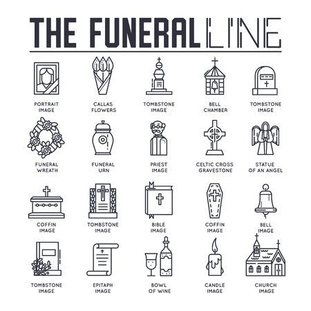 Thin lines collection icons set dedicated to funeral, death, and cemetery. Vector outline ritual attributes in life of people background.