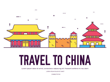 ountry China travel vacation of place and feature. Set of architecture, item, nature background concept. Infographic traditional ethnic flat, outline, thin line icon