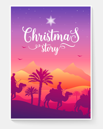 christmas vector brochure cards set. magi travel template of flyear, magazines, poster, book cover, banners. Landscape arabic invitation concept background. Layout illustration modern page