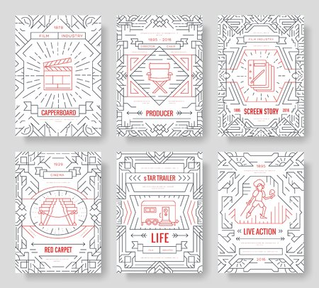 Set of thin line cinema vacation pattern concept. Art traditional, magazine, book, poster, abstract, banners, element. Vector outline package greeting card or invitation design background Illusztráció
