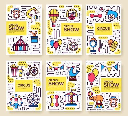 Premium quality circus outline icons infographic set. Festival linear symbol pack. Modern show template of thin line, logo, symbols, pictogram and flat illustrations vector concept banners Vectores