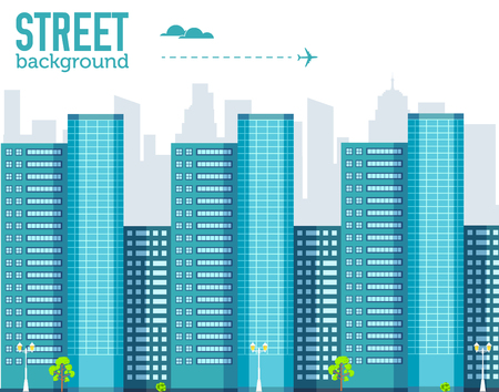 skyscraper building in city space with road on flat style background concept. Vector illustration