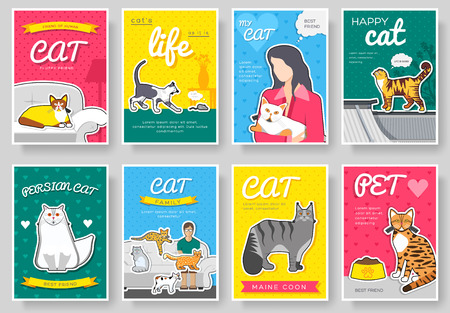 breed cats thin line brochure cards set. Animal traditional template of flyer, magazines, posters, book cover, banners. kitten outline invitation concept background. Layout quality modern Illustration