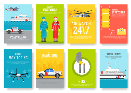 coast guard thin line brochure cards set. Guarding traditional template of flyear, magazines, posters, book cover, banners. Devices outline invitation concept background. Layout quality modern pages Stock Illustratie