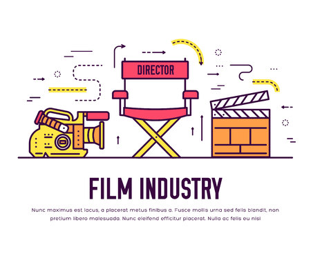 Premium quality cinema industry thin line design set. Filming minimalistic symbol infographic. Outline movie technology template of icon, typography, logo, pictogram and illustration concept Иллюстрация