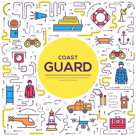 coast guard day illustration vector outline icon set. Thin line guarding the order elements concept