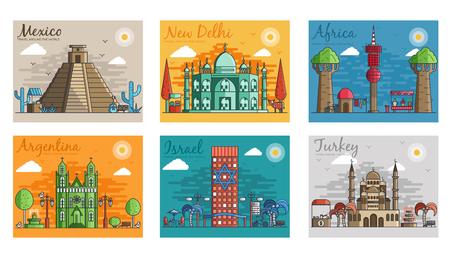Set of different cities for travel destinations. landmarks banner template of flyer, magazines, posters, book cover, banners. Layout workplace technology flat illustrations modern Illustration