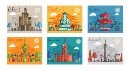 Set of different cities for travel destinations. landmarks banner template of flyer, magazines, posters, book cover, banners. Layout workplace technology flat illustrations modern Vettoriali