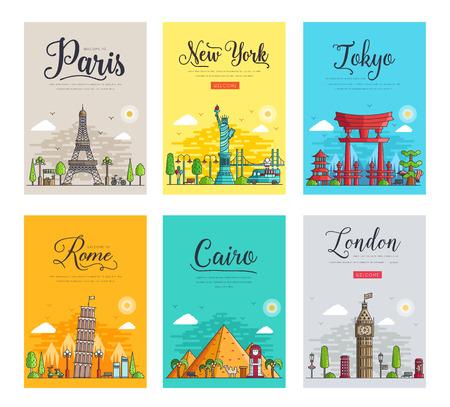 Set van dunne lijnen verschillende steden voor reisbestemmingen. Bezienswaardigheden sjabloon voor spandoek van flyer, tijdschriften, posters, boekomslag, banners. Lay-out werkplek technologie overzicht vectorillustraties modern