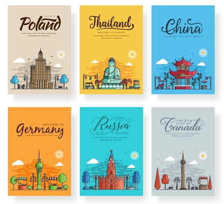 Set of outline different cities for travel destinations. Landmarks banner thin line of flyer, magazines, posters, book cover, banners. Layout world architectural flat illustrations modern pages Vettoriali