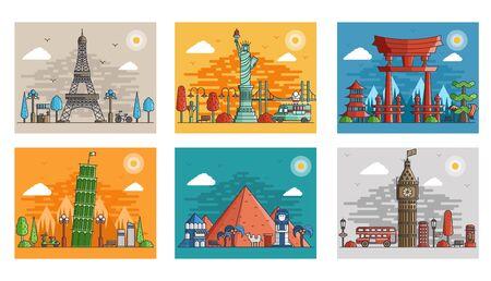 Conjunto de viajes ornamentales en diseño de estilo floral étnico. Arte de la arquitectura con logotipo, etiqueta. Monumentos históricos de Francia, Japón, Egipto, Inglaterra, Italia, Estados Unidos. Logos