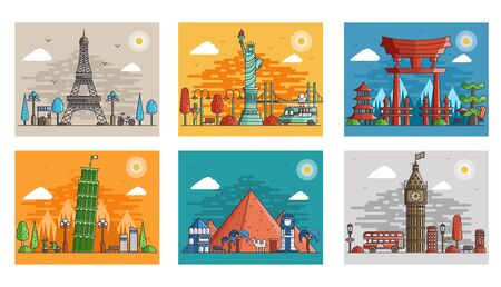 Zestaw ozdobnych podróży w stylu etnicznym kwiatowy. Sztuka architektury z logo, etykieta. Zabytki Francji, Japonii, Egiptu, Anglii, Włoch, USA Logo