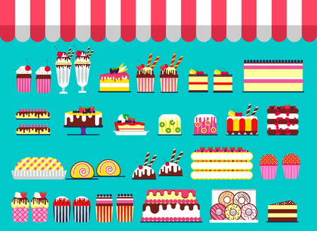 Cake stand in shop illustration. Vector sweet for party background. Food icon set on happy birthday or wedding. Vector collection object
