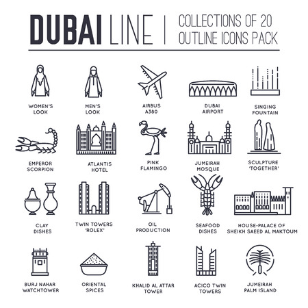 Country Dubai travel vacation guide of goods, place and feature. Set of architecture, fashion, people, item, nature background concept. Infographic traditional ethnic flat, outline, thin line icon