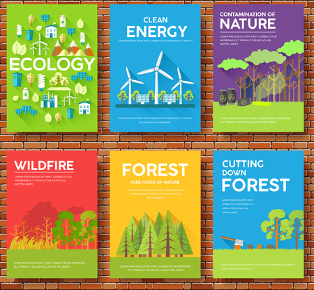 Ecology information cards set. Ecological template of flyear, magazines, posters, book cover, banners. Eco infographic concept  background. Layout illustrations modern pages with typography text Vectores