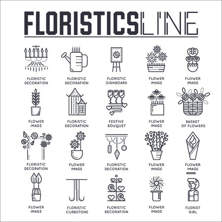 Illustration of floristics outline icons in black and white