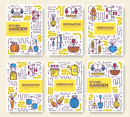 Gardener watering plants in greenhouse thin line set. vegetables growing in hothouse linear template of flyer, magazines, posters, book cover, banners. Layout outline modern pages