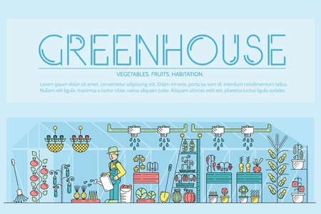Greenhouse poster with a gardener watering plants in a greenhouse Çizim