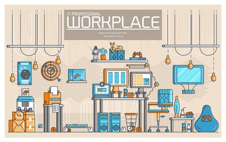 Vector outline it geeks people icons illustrations. Flat thin line office professional developer workplace technology