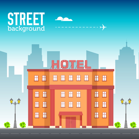 Hotel building in city space with road on flat style background concept. Vector illustration Illustration