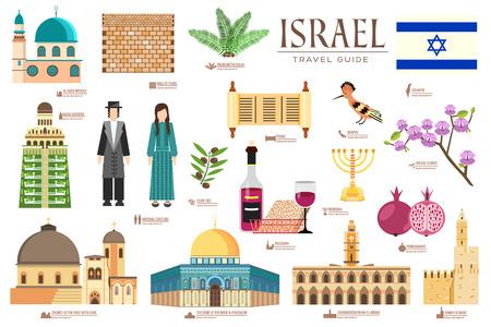 Israel vector for brochure, cards on thin line set for outline illustrations modern pages