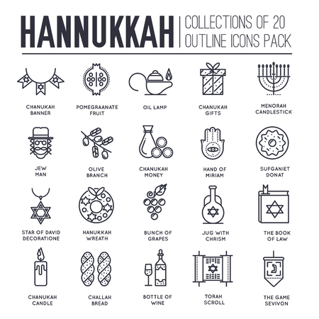 Happy hanukkah day thin line illustration background. Outline icons elements for holiday. Vector object jewish traditional on religion celebration. Israel greeting