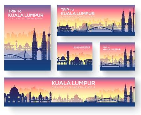 Conjunto de kuala lumpur paisaje país ornamento viaje viaje concepto. Cultura tradicional, revista, libro, póster, resumen, elemento. Vector decorativo étnico tarjeta de felicitación o invitación