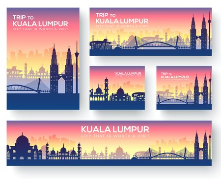 Set of kuala lumpur landscape country ornament travel tour concept. Culture traditional, magazine, book, poster, abstract, element. Vector decorative ethnic greeting card or invitation  Stock Illustratie